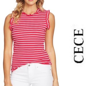 Sleeveless Top CeCe Raspberry Stripe Ruffle  NWT